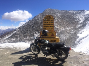Royal Enfield on Khardung La Top